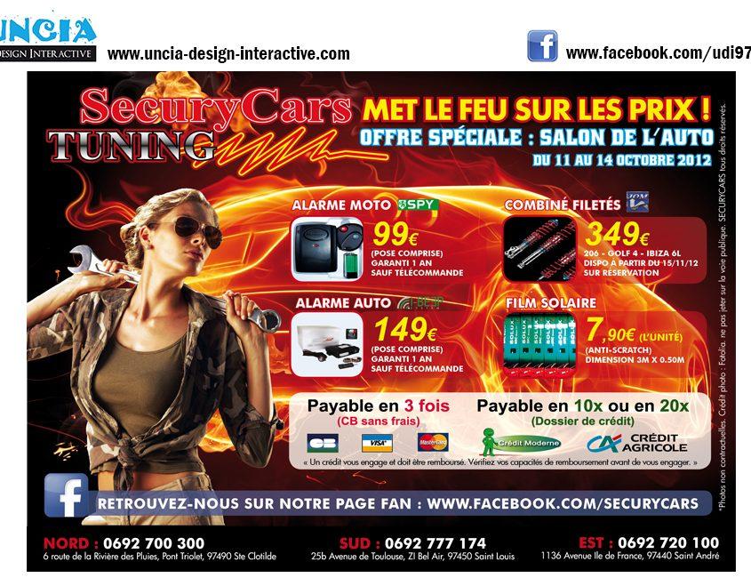 Publicité Réunion : Flyers pour Securycars Tuning. (par Uncia Design Réunion)