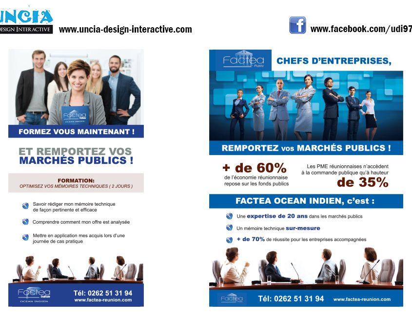 Publicité Réunion : Flyers pour Factea Réunion. (par Uncia Design Réunion)