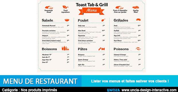 Menu de restaurant - Publicité Ile de la Réunion